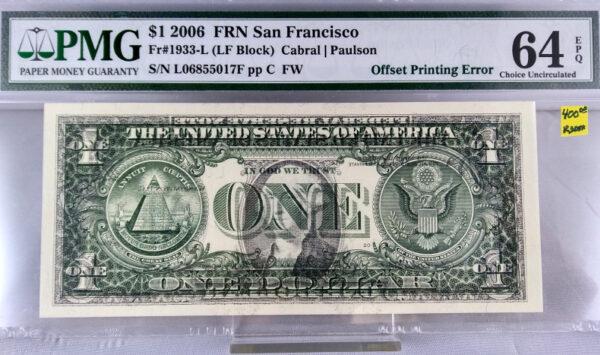$1 FRN San Francisco Fr#1933-L (LF-Block) Cabrl | Paulson