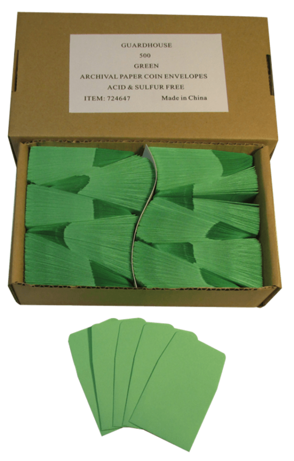 Archival Paper Coin Envelope, Green – Qty: 500