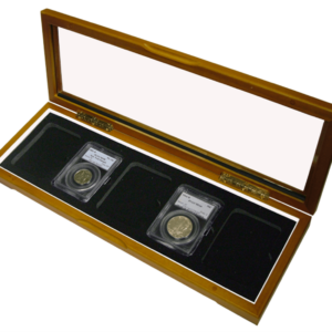 Wood Glass-top Display Slab Box - 5 Coin Slab Universal