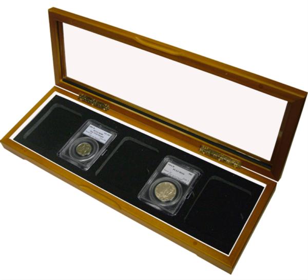 Wood Glass-top Display Slab Box – 5 Coin Slab Universal