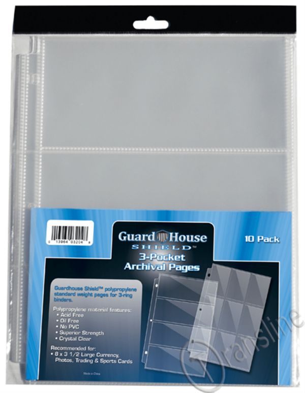 Guardhouse Shield 3 Pocket Archival (10 pack) Polypropylene Pages
