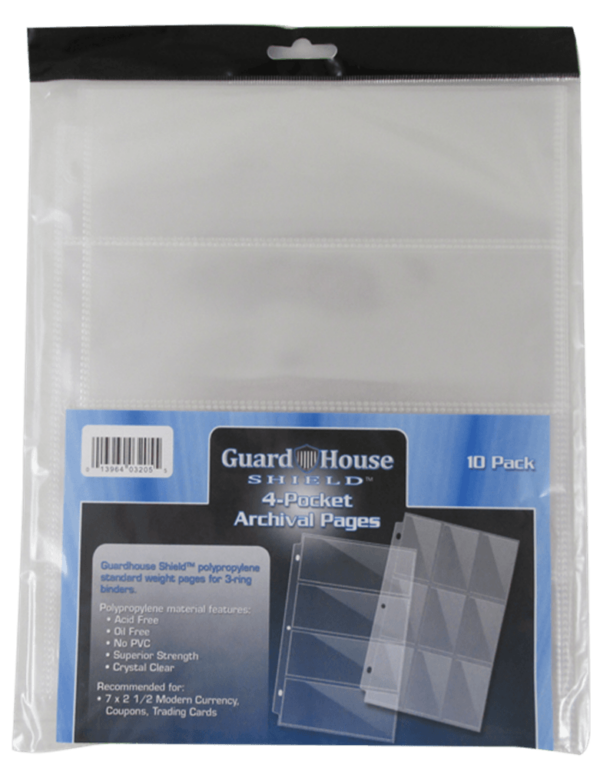 Guardhouse Shield 4 Pocket Archival (10 pack) Polypropylene Pages