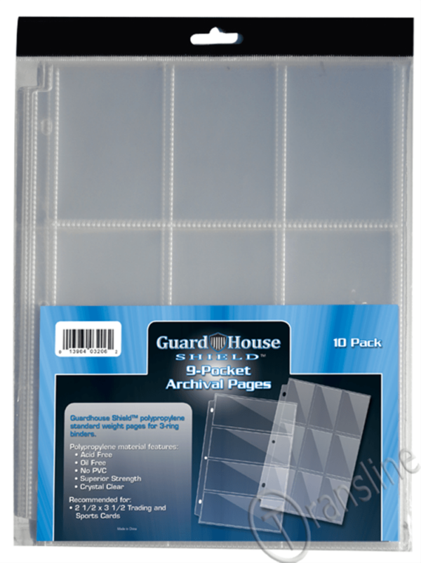 Guardhouse Shield 9 Pocket Archival (10 pack) Polypropylene Pages