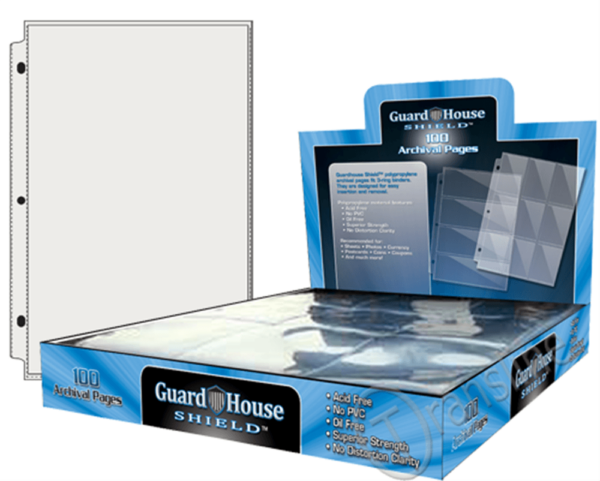Guardhouse Shield 1 Pocket (100 pack) Archival Polypropylene Pages