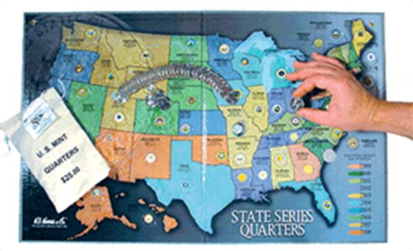 H E Harris State Quarter Map