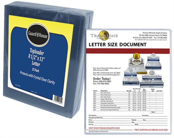 Letter Size Toploader – 8 1/2×11