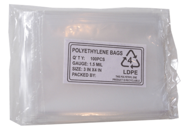 Poly Bags – 100 per pack (3 x 4)