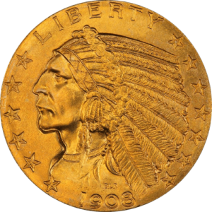 $5 Gold Indian Head - Half Eagle (XF or Better)