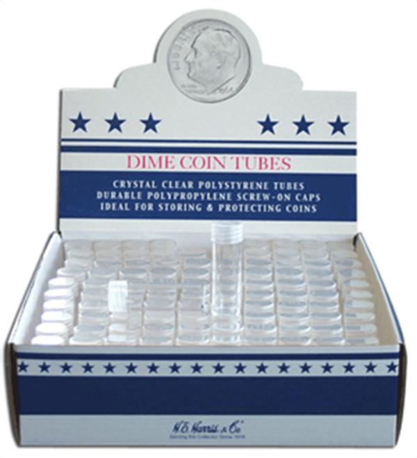 Round Coin Tube-Dime, 100/bx