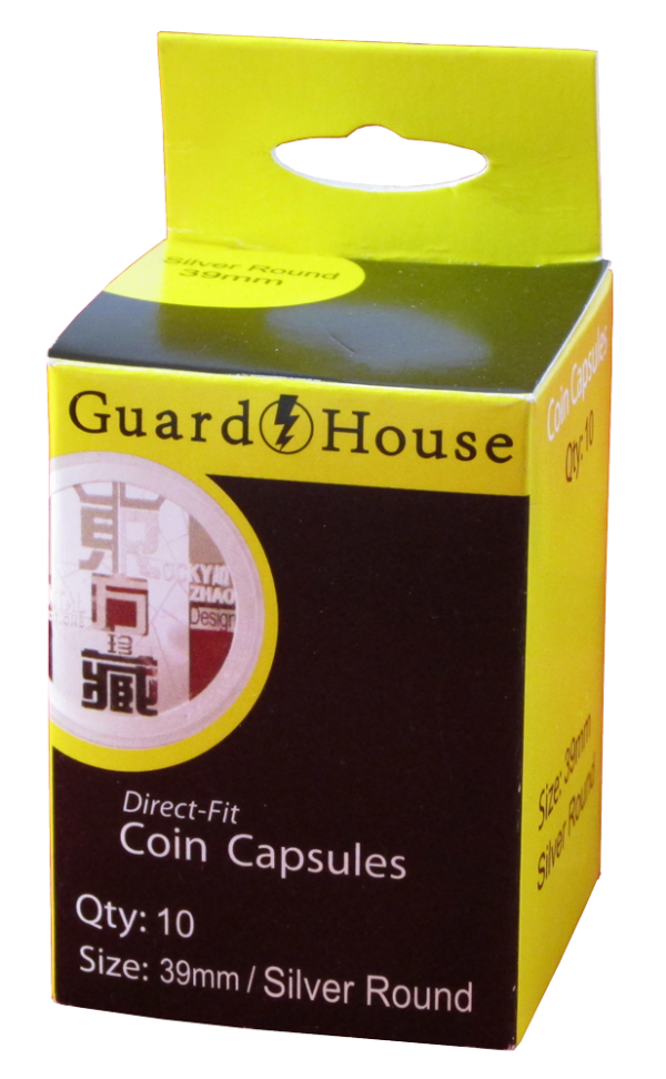 Silver Round (39mm) Direct-Fit Coin Capsules – 10 Pack