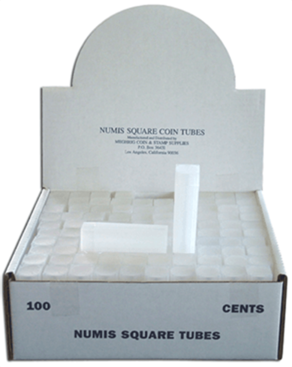 Square Coin Tube -Cent-100/bx