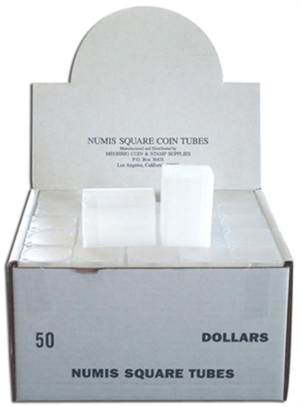 Square Coin Tube -Dollar-50/box