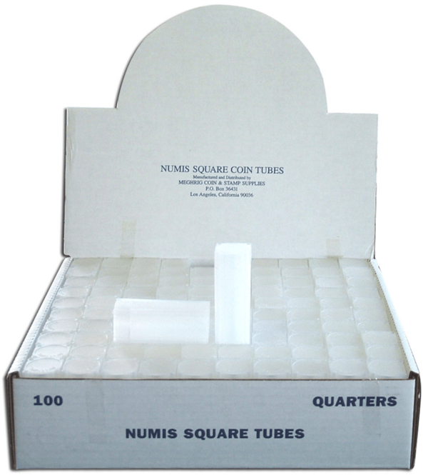 Square Coin Tube -Quarter-100/bx