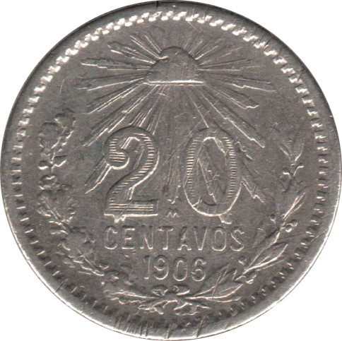1905-1914 Twenty Centavos (80%)