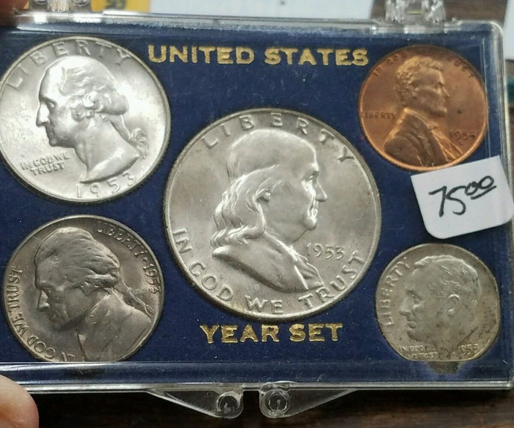 1953 Year Set, 5 Coins Half Dollar-Cent!