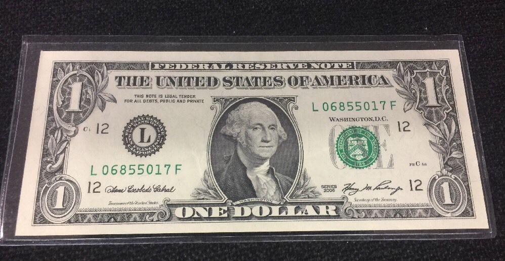 2006 1 Dollar Bill Front To Back Offset Transfer Error