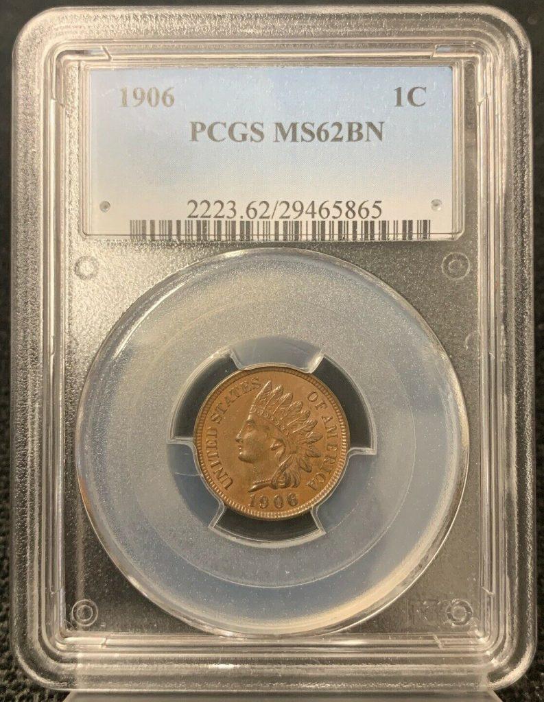 1906 1C Indian Head Cent PCGS MS62BN AH865