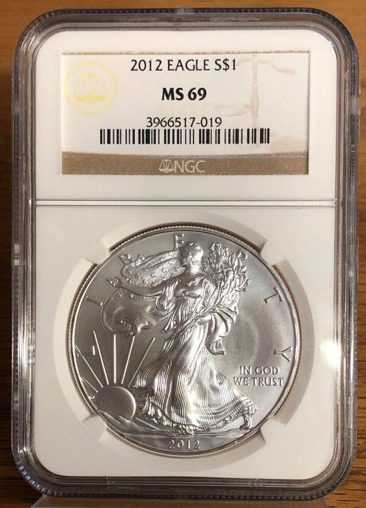 2012 Silver Eagle MS69 NGC NH019