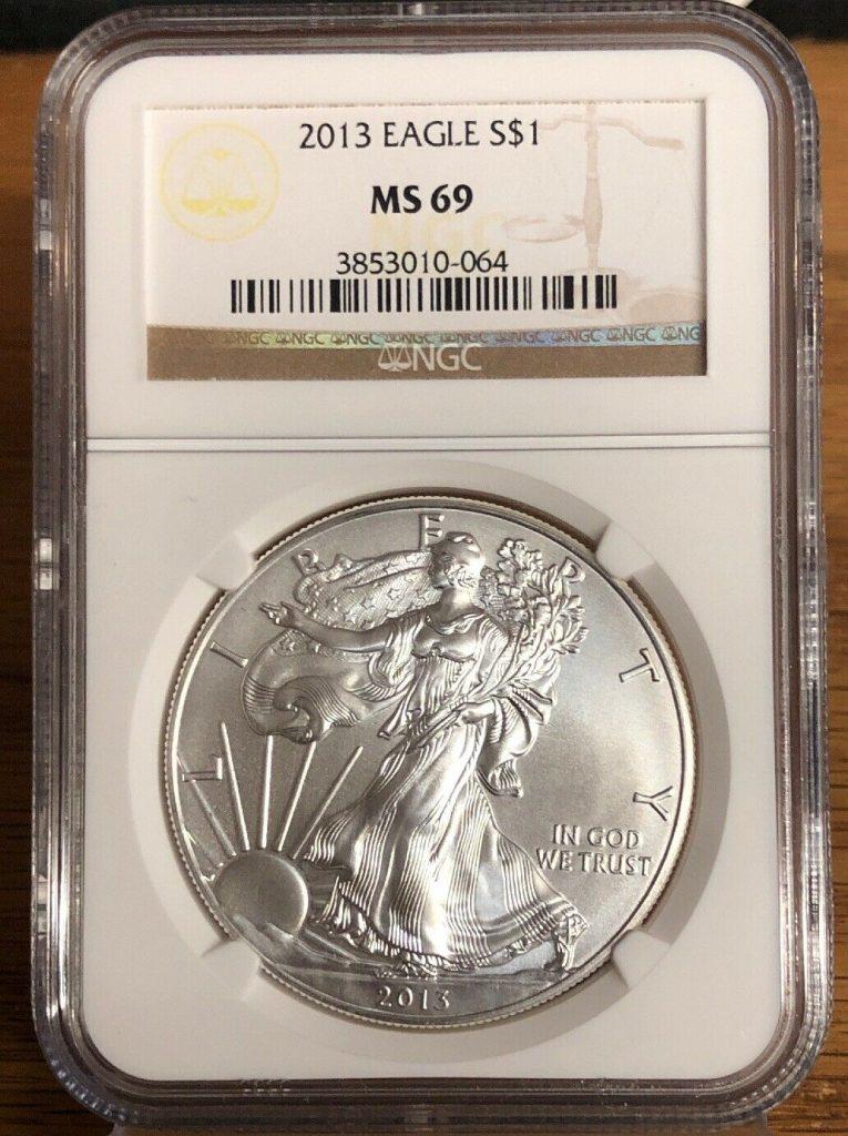 2013 Silver Eagle MS69 NGC NH064
