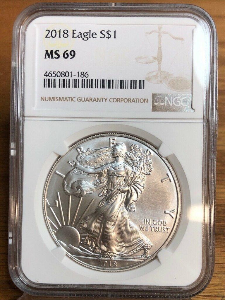 2018 Silver Eagle MS69 NGC NH186
