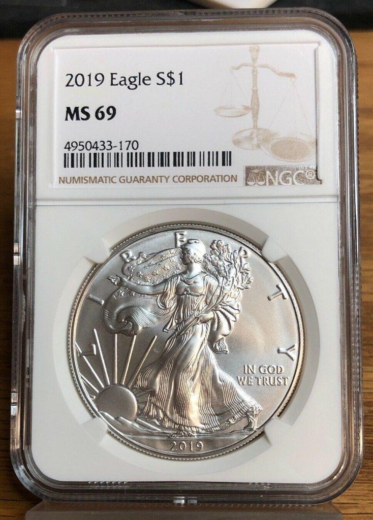 2019 Silver Eagle MS69 NGC NH170