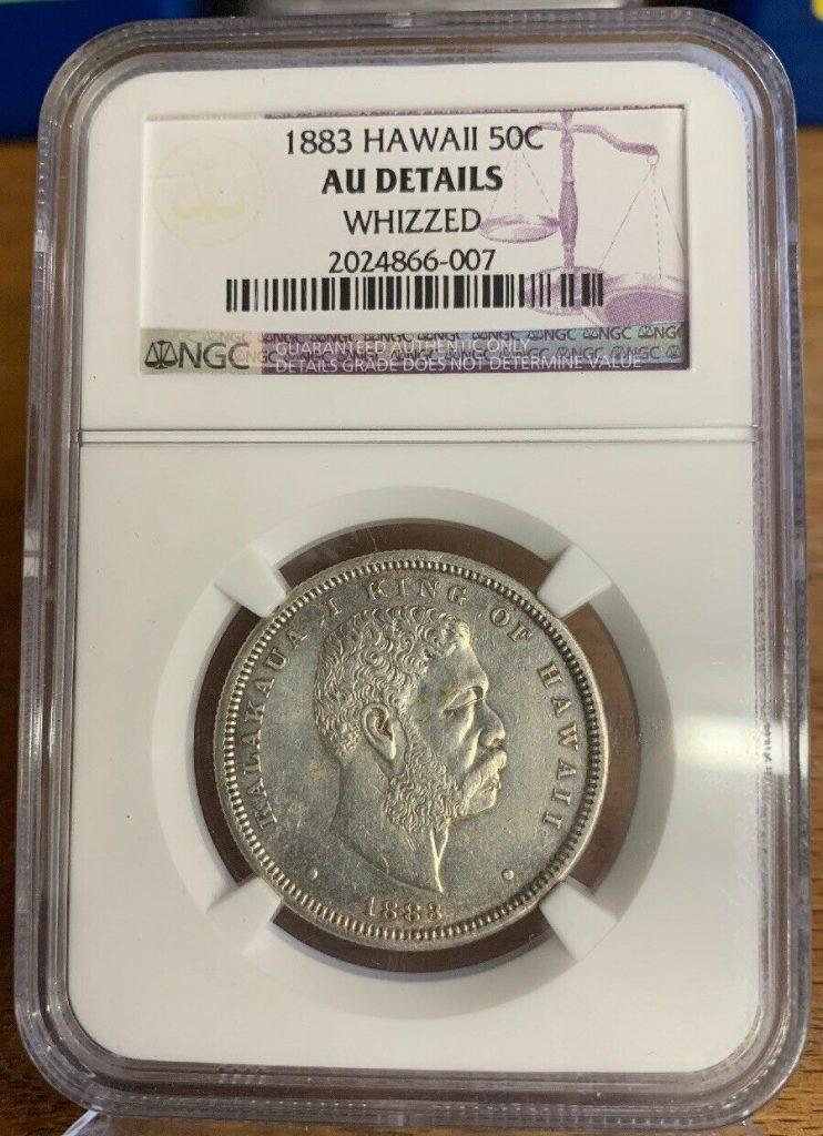 1883 50C Hawaii Half Dollar NGC AU Details Wizzed 007