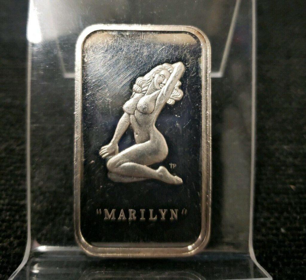 """Marilyn"" Monroe - Silver Bar - One Ounce (.999 Silver) Colonial Mint 1973 XH"