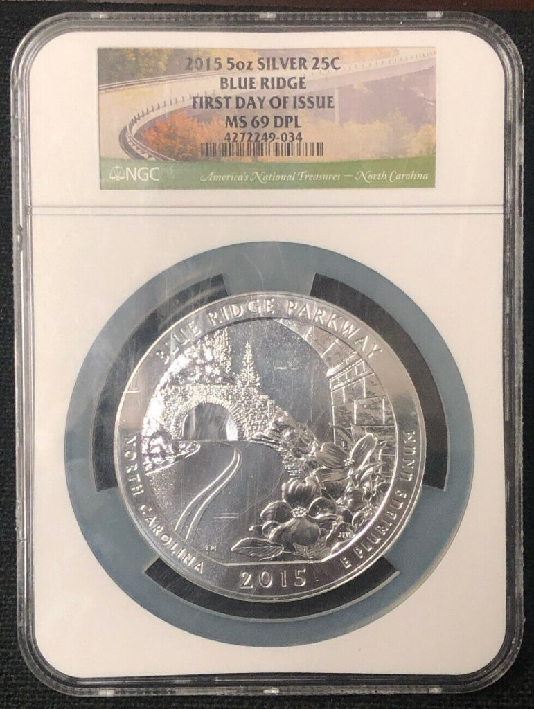 2015 5oz Silver 25C Blue Ridge First Day of Issue MS69 NGC NH034