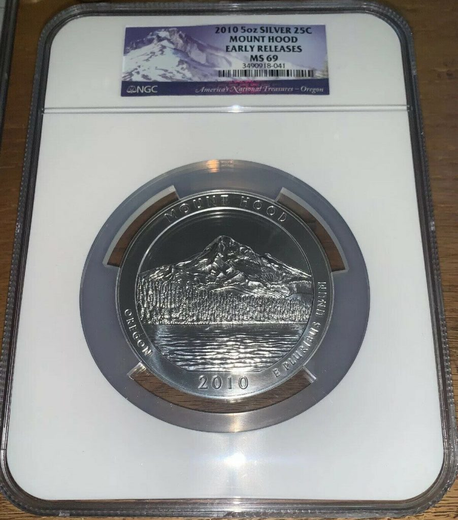 2010 America The Beautiful 5 Oz Silver NGC MS 69 Early Releases Mount Hood AH041