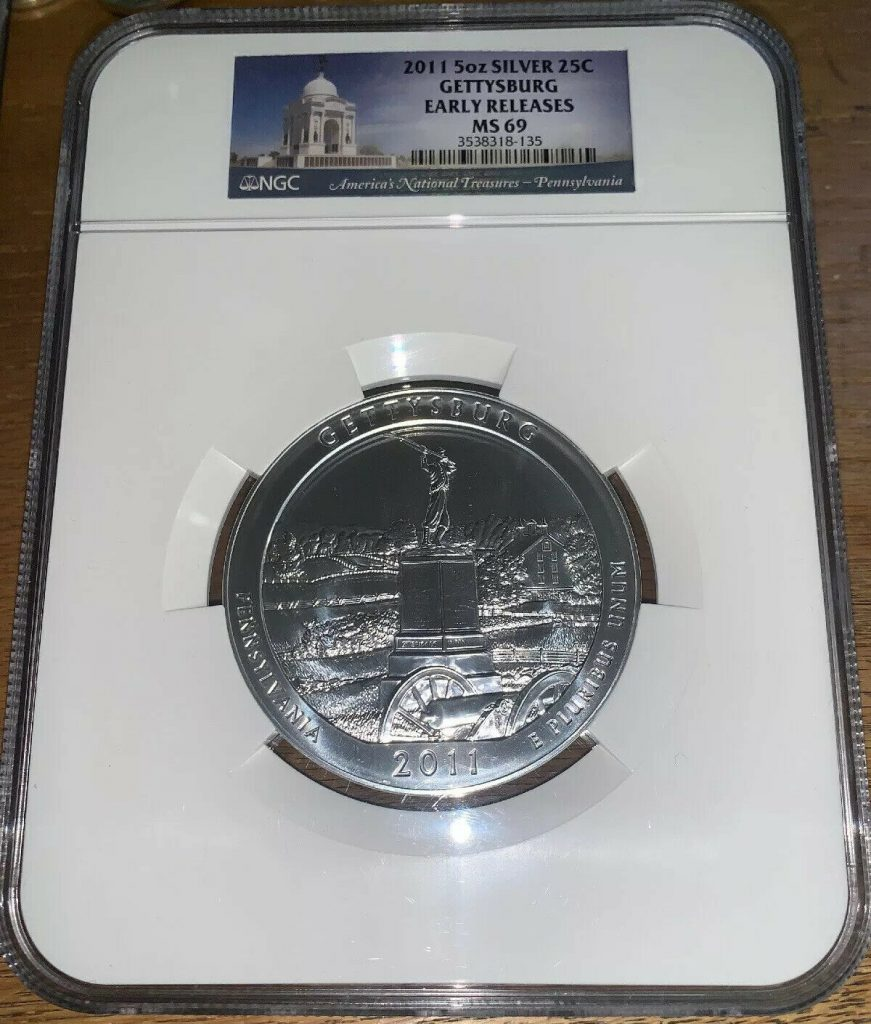 2011 Gettysburg America The Beautiful 5 oz Silver 25c NGC MS69 Early Releases AH