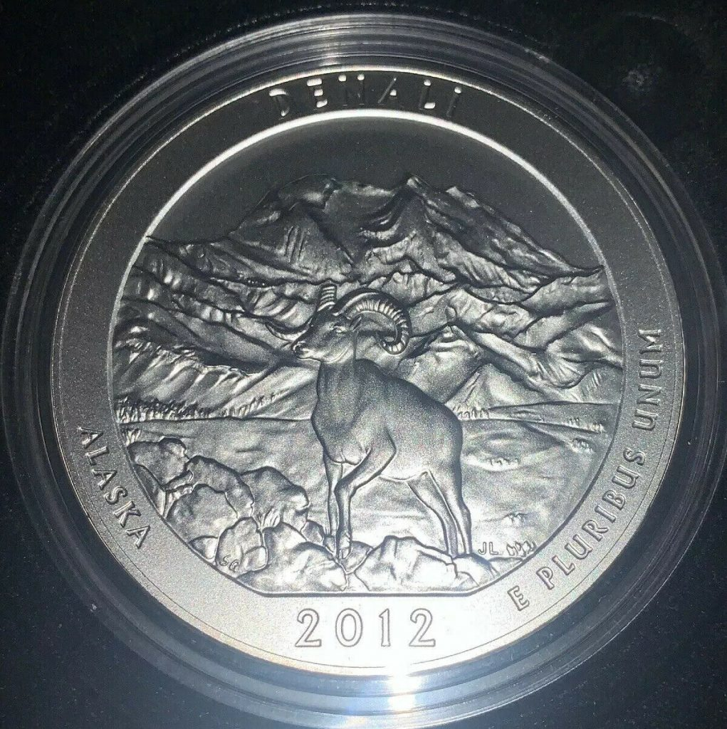 2012-P Denali America The Beautiful  5 oz Silver Coin W/Box & COA UNC AH1223
