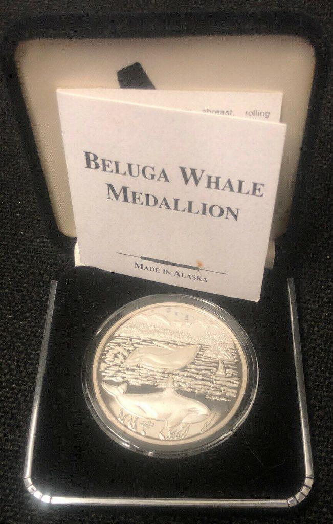 Alaska Mint Beluga Whale Medallion 1 Oz .999 Silver Round Proof w/ COA NH