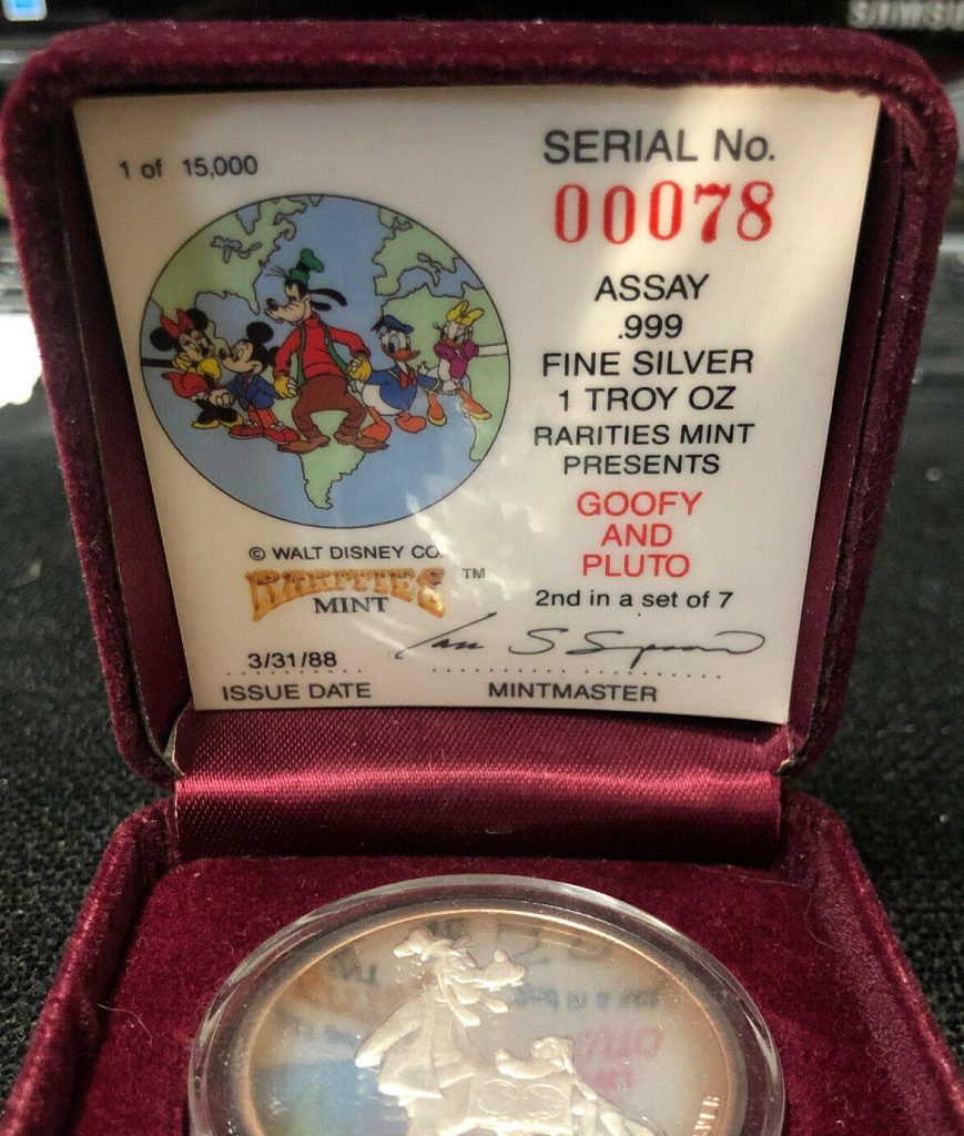 Rarities Mint 1 Troy Oz 'Goofy And Pluto' Fine Silver NH