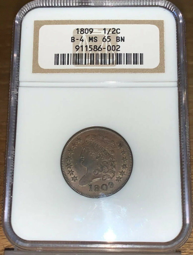1809 Half Cent 1/2C B-4 NGC MS65 BN Brick Holder Pop 3/1 AH002
