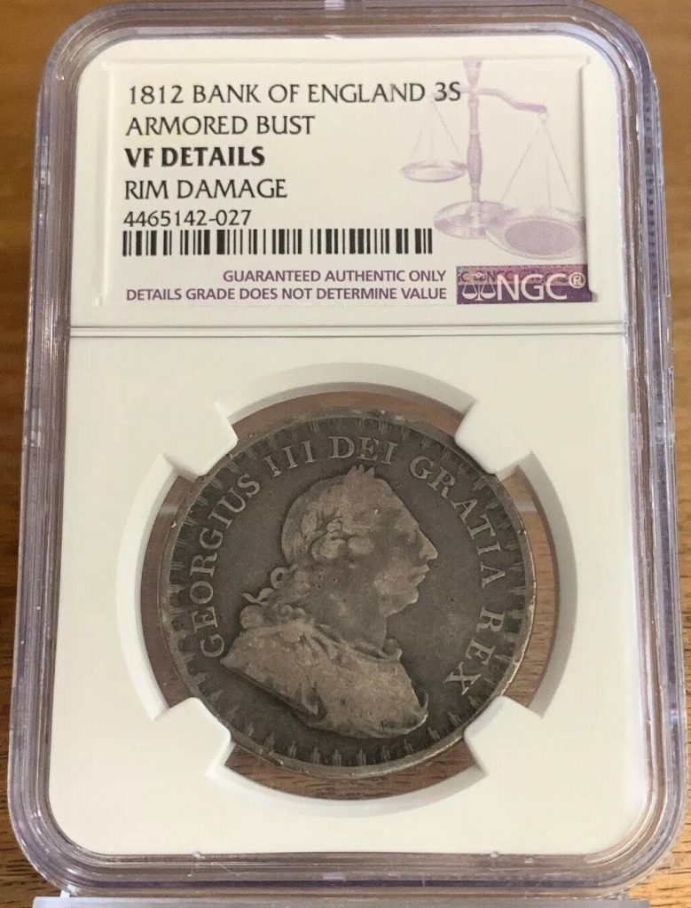 1812 Bank of England 3 Shillings Armored Bust NGC VF Details AH