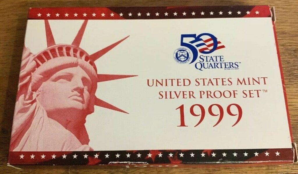 1999 United States Mint Silver Proof Set - 5 Coins - W/Box & COA