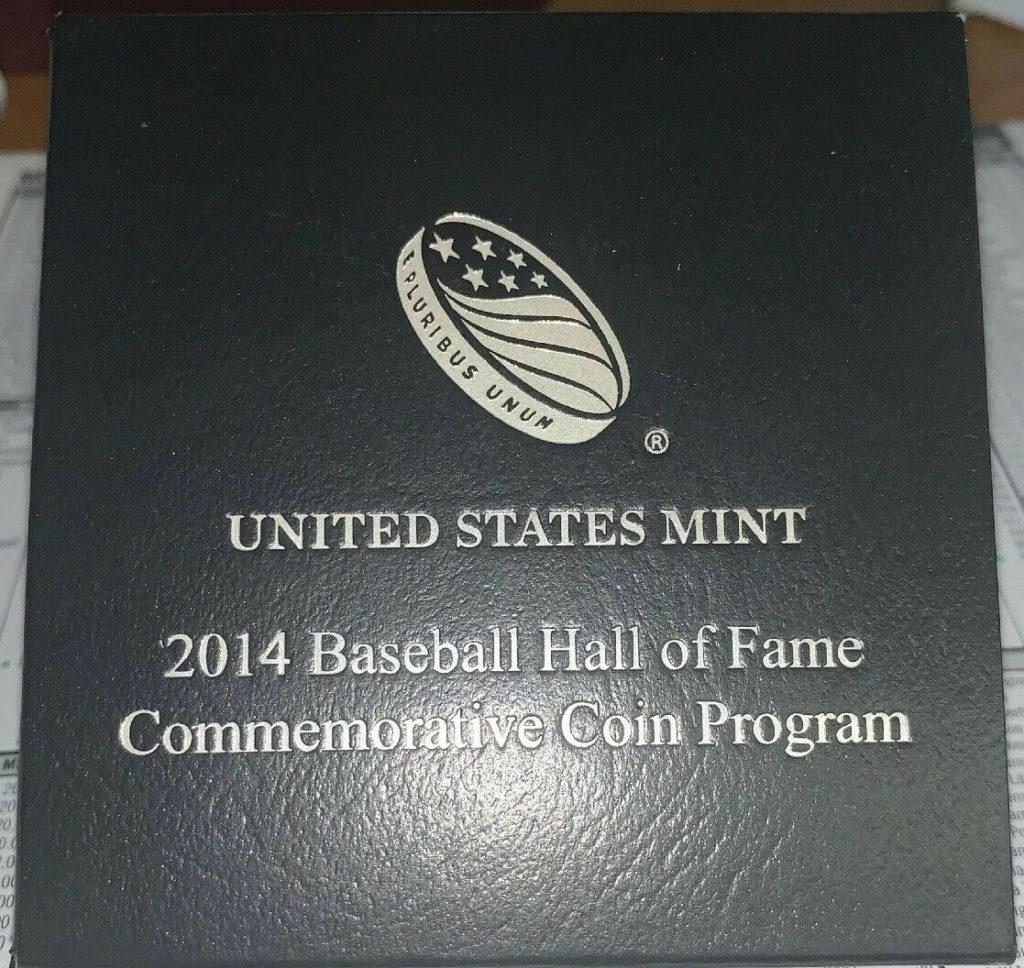 2014 Baseball Hall Of Fame Unc Commemorative Silver Dollar W/Box