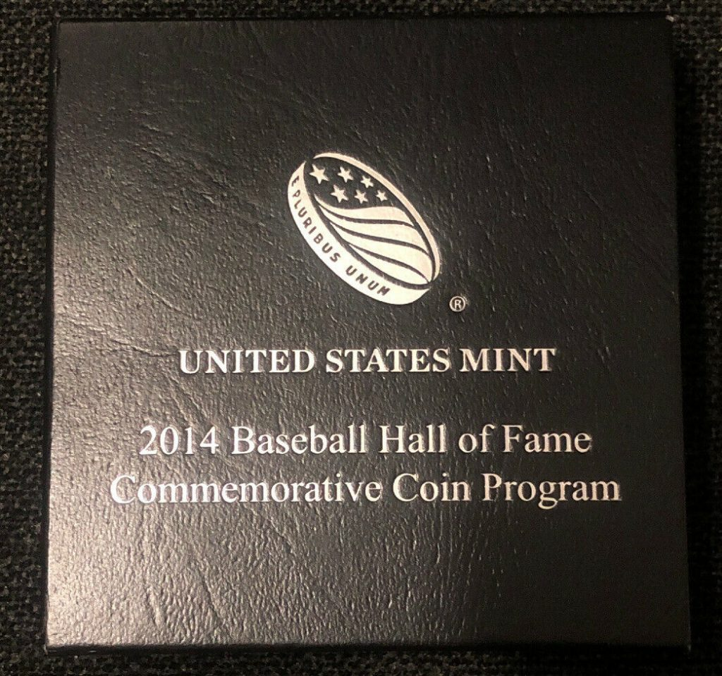 US MINT 2014 National Baseball Hall Of Fame Proof Silver $1 W/ Box And COA NH