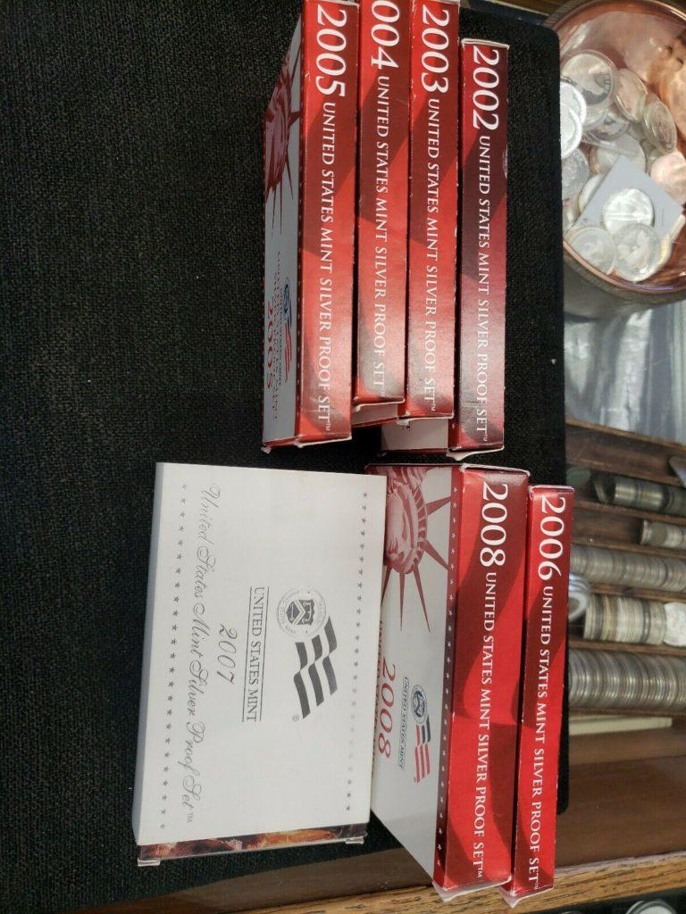 Wholesale Lot: 7 US Silver Proof 2002, 03, 04, 05, 06, 07, 08. OGP