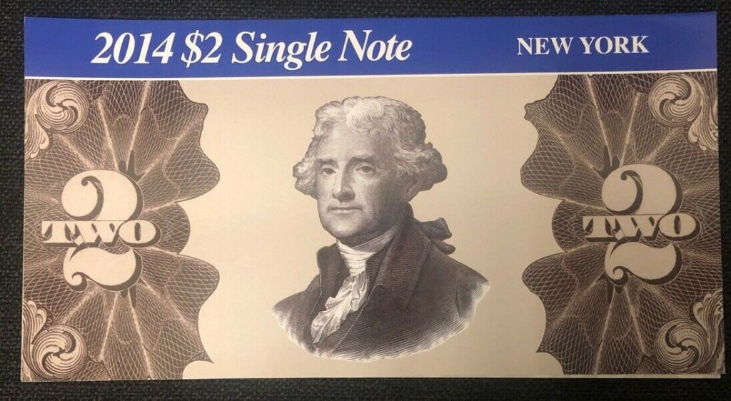 2014 $2 Single Note Fancy Serial Number Federal Reserve New York NH