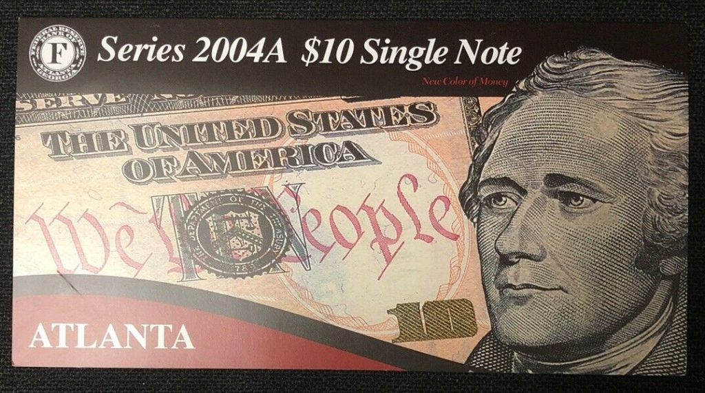Series 2004A $10 Single Note Bank Of Atlanta- Low Serial Number NH