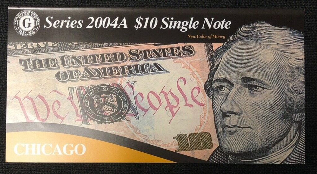 Series 2004A $10 Single Note Bank of Chicago-Low Serial Number NH