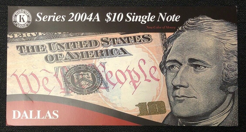 Series 2004A $10 Single Note Bank of Dallas- Low Serial Number NH