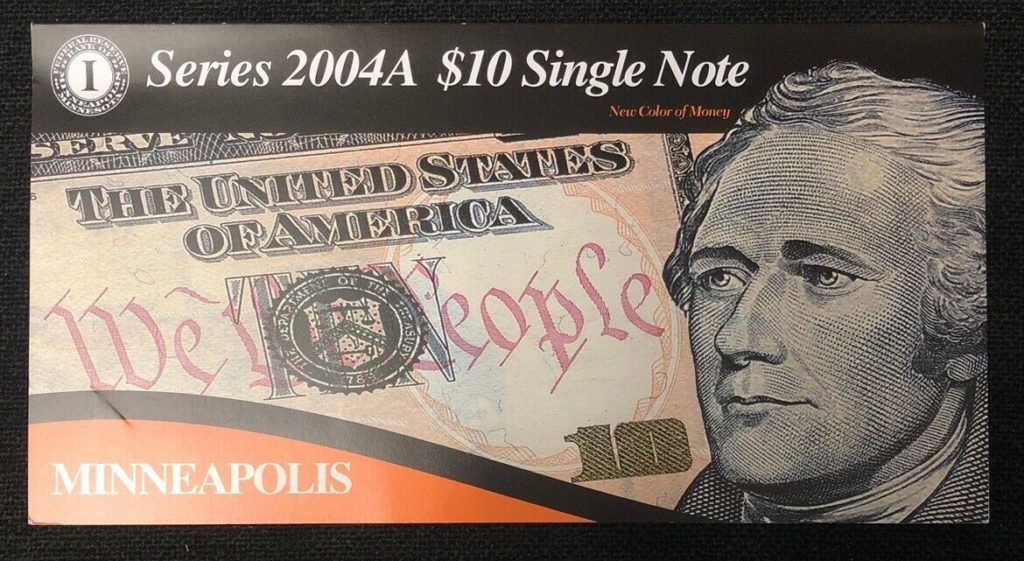 Series 2004A $10 Single Note Bank of Minneapolis-Low Serial Number NH