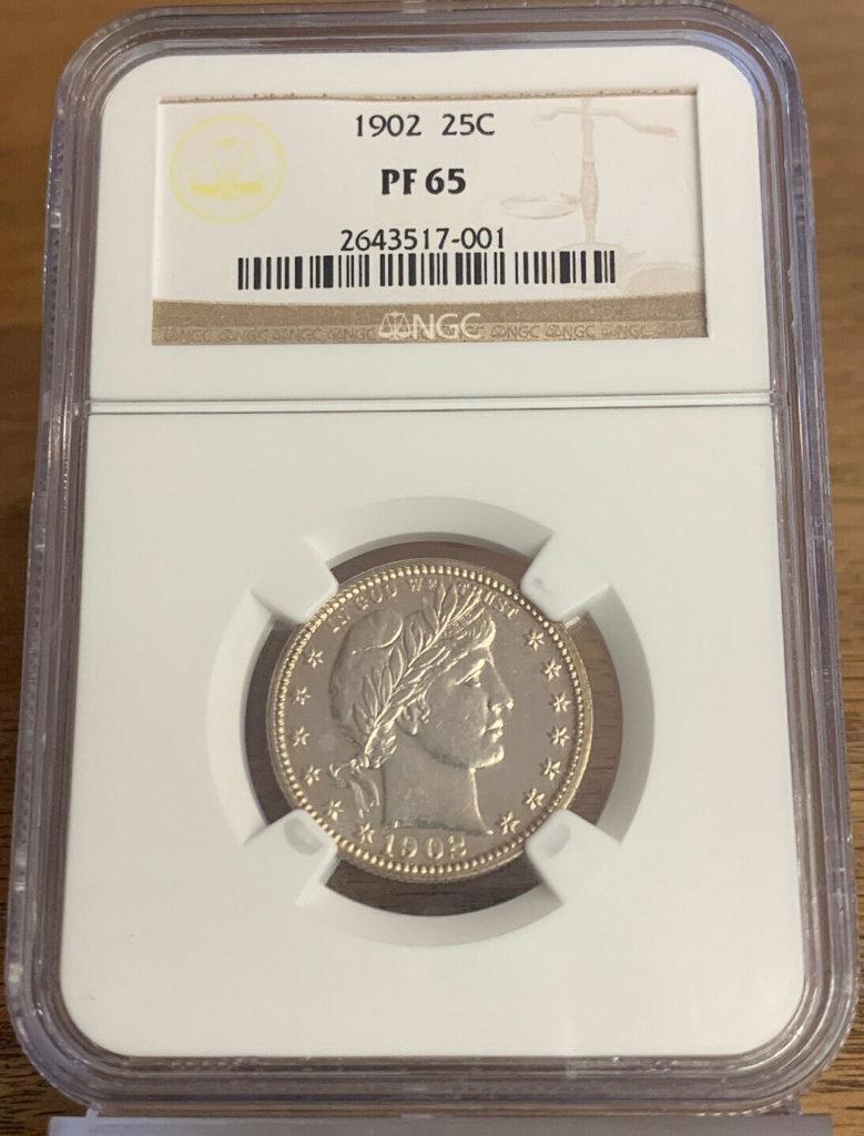 1902 P Silver Barber Quarter Dollar (25C), NGC PF65 AH