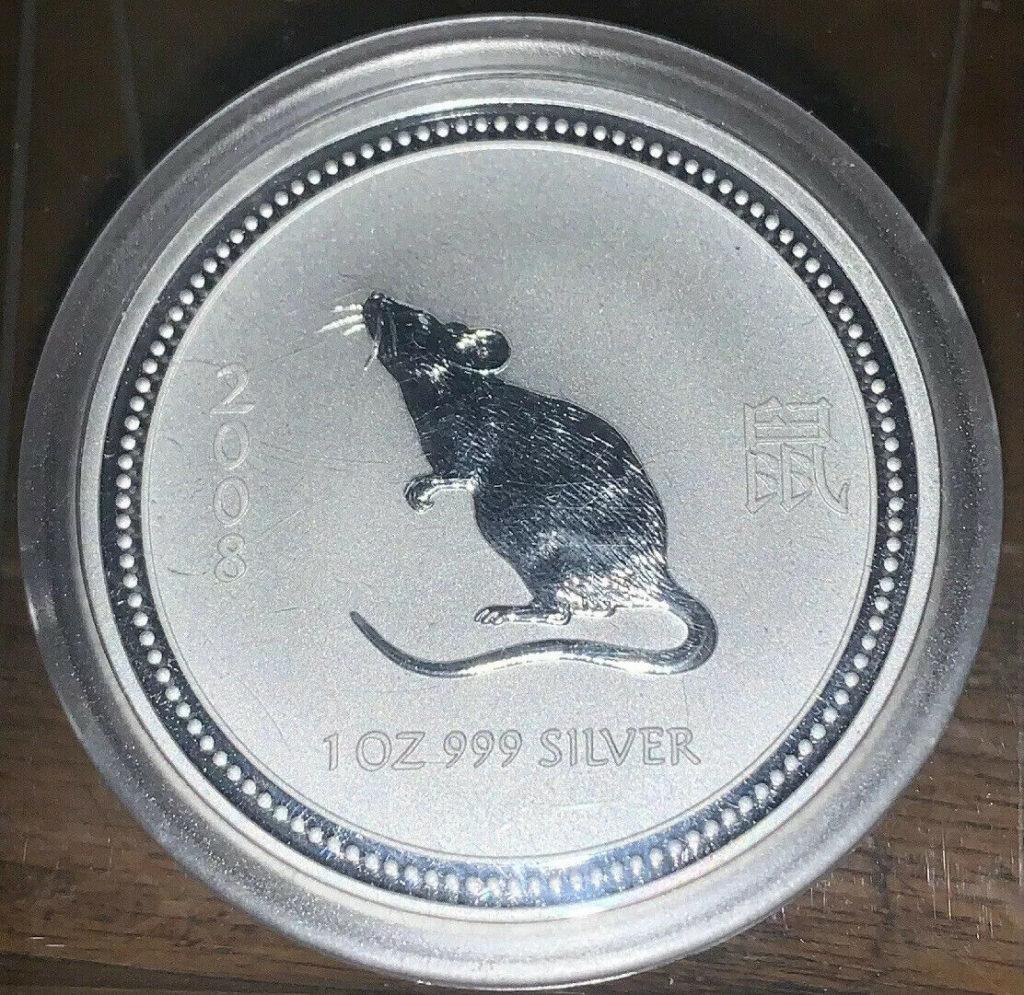 2008 Australian Lunar Year Of The Rat 1 Oz  Silver Coin Series 1 AH