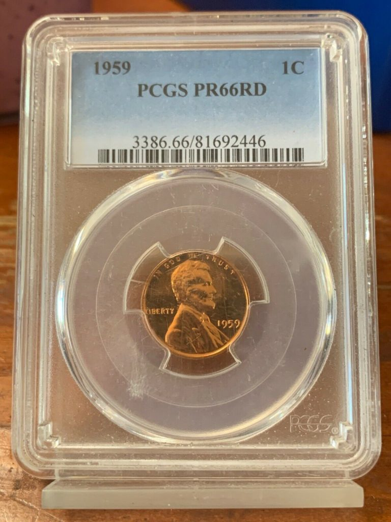 1959 1C Lincoln Penny PCGS PR66 RD AH446