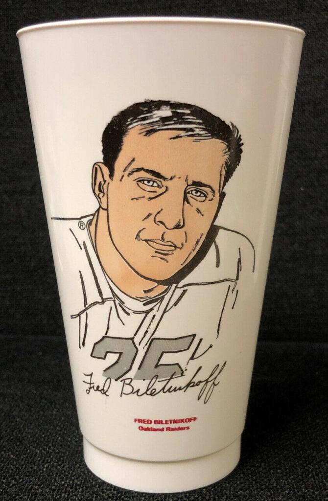 1972 Fred Biletnikoff Oakland Raiders Seven Eleven Slurpee Cup NH