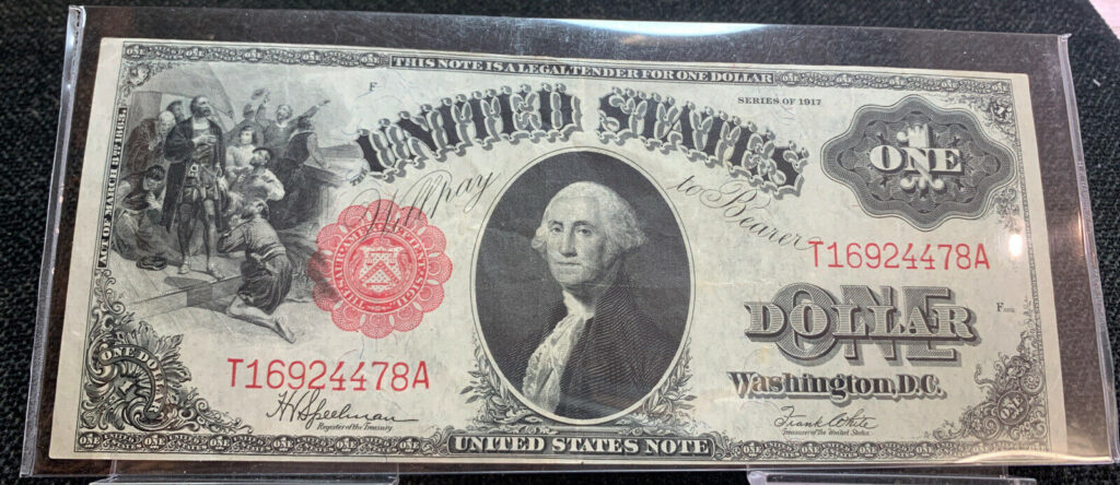 1917 $1 One Dollar Note Red Seal F-39 AH