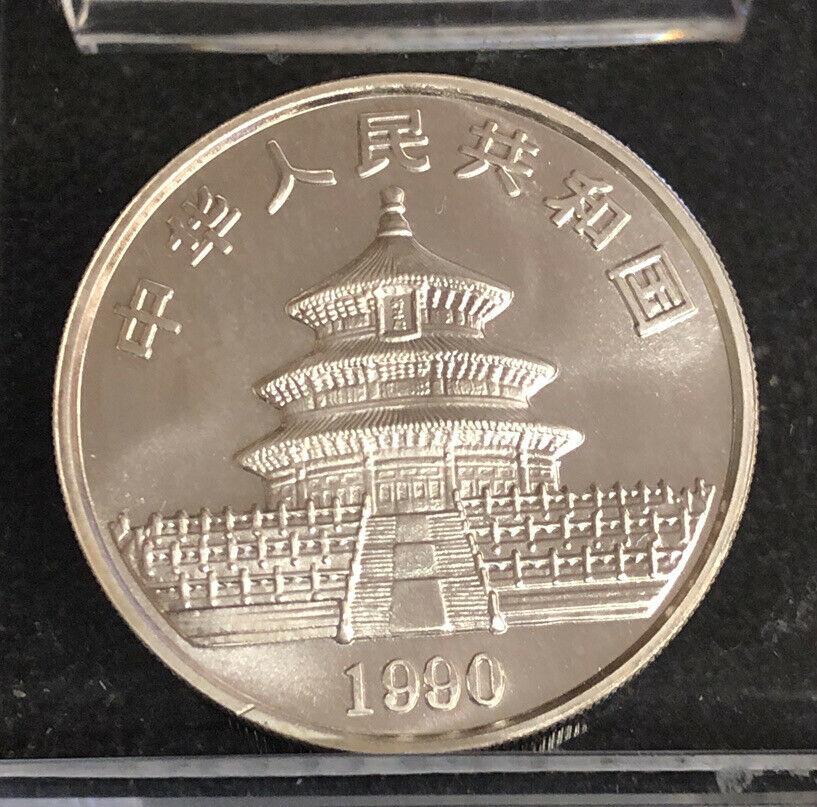 1990 China 1oz .999 Silver Panda 10 Yuan Uncirculated Coin NH